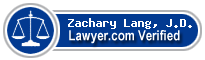 Zachary B. Lang, J.D.  Lawyer Badge