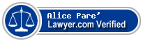 Alice Pare'  Lawyer Badge