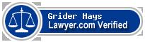 Grider W. Hays  Lawyer Badge