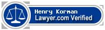 Henry Alan Korman  Lawyer Badge