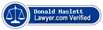 Donald B Haslett  Lawyer Badge