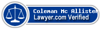 Coleman Mc Allister  Lawyer Badge