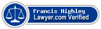 Francis Alfred Highley  Lawyer Badge